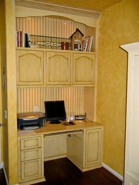 Custom Made Built-In Home Office, Desk And Storage Cabinet