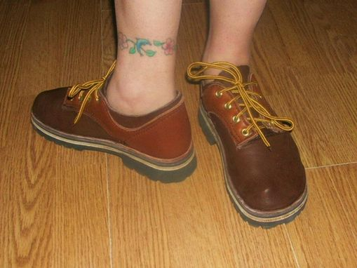 Custom Made Short Lace Up The Front Elk Hide Leather Shoes.