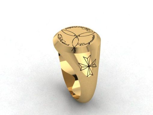 Custom Made Men's Round Signet Ring In Solid Gold 14kt.