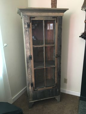 Custom Made Rustic Curio Cabinet With Reclaimed Antique Window Door