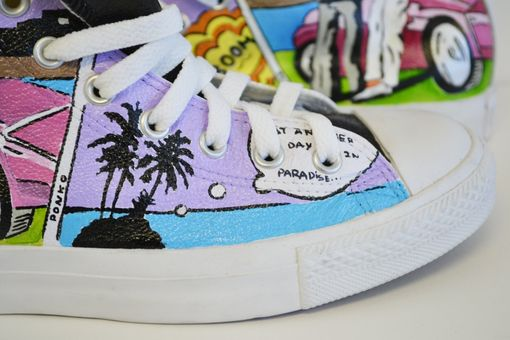 Custom Made Miami Vice (Hand Painted)- Leather Converse- All Star Hand Painted Converse