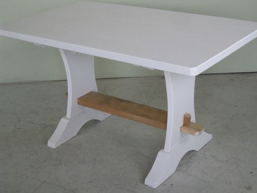 Custom Made Small White Farmhouse Trestle Table