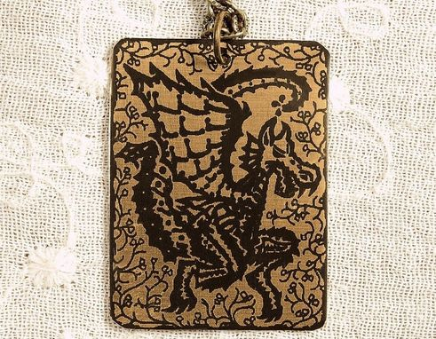 Custom Made Dragon Necklace - Etched Fused Glass On Bronze Jewelry