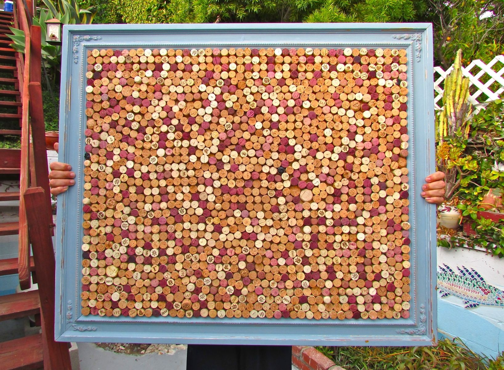 custom made custom wine cork pin boards and usable wine cork mosaics in various vintage frames