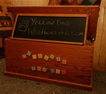 Custom Made Oak Toy Chest With Folding Chalkboard