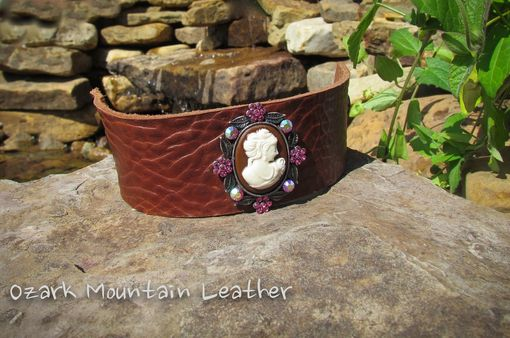 Custom Made Custom Leather Cuff Bracelet With Brooch