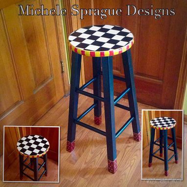 "Custom Made Painted Bar Stool // 24"" Or 29""  Custom Round Top Wooden Bar Stool // Counter Stool - Chair"