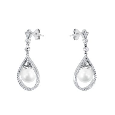 Custom Made Japanese Akoya Pearl Earring With Diamond Accent Made In 14kt White Gold