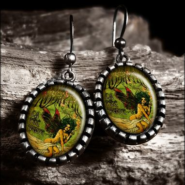 Custom Made Art Nouveau Absinthe Green Fairy Antique Silver Earrings 273-Soe