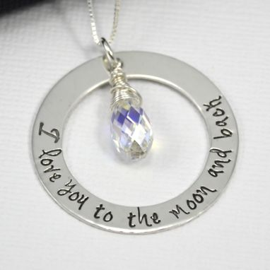 Custom Made I Love You To The Moon And Back Hand Stamped Necklace