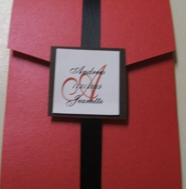 Custom Made Modern Red And Black Pocketfold Wedding Invitation Set- 100 Invitations