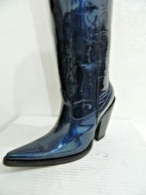 Custom Made Custom Made 34¨Tall Blue Patent Leather Cowboy Boots 5¨High Heels Made To Order.