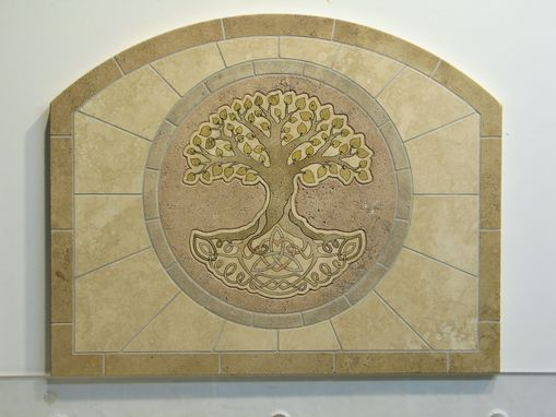 Custom Made Tree Of Life Travertine Backsplash Tile