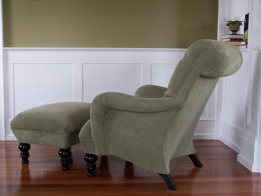 Custom Made Custom Club Lounge Chair & Ottoman