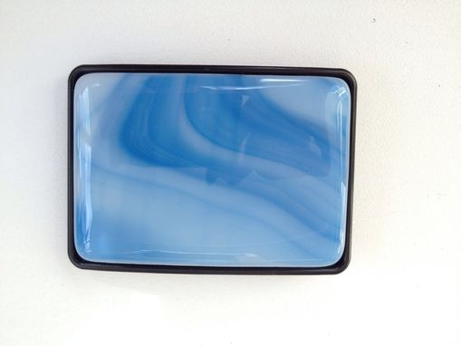 Custom Made Sky Blue Fused Glass Belt Buckle