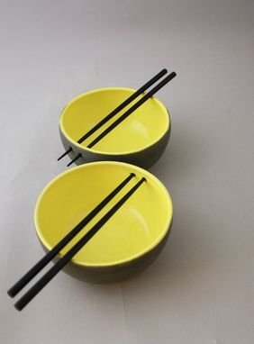 Custom Made Ceramic Chopstick Bowls, Stoneware Rice Bowls