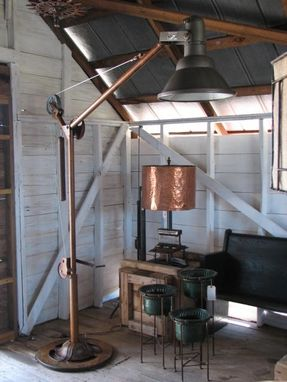Custom Made Industrial Floor Lamp With Reclaimed Boat Wench