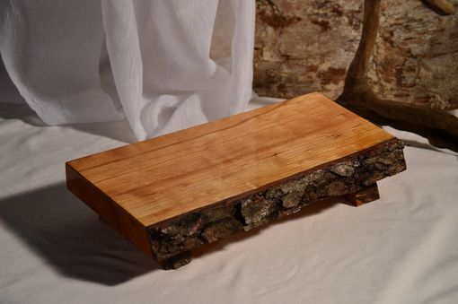 Custom Made Wild Cherry Natural Edge Bark-On Footed Serving Platter, Cutting Board, Sushi