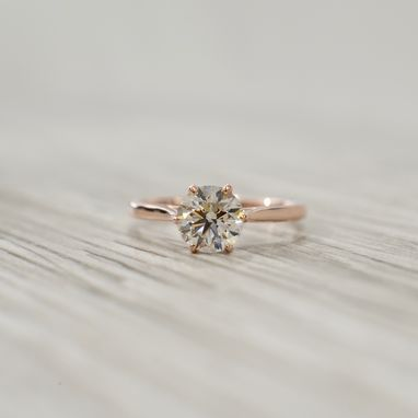 Custom Made Round Brilliant In A Petite 1.9mm Six Prong Tulip Solitaire Engagement Ring In Rose
