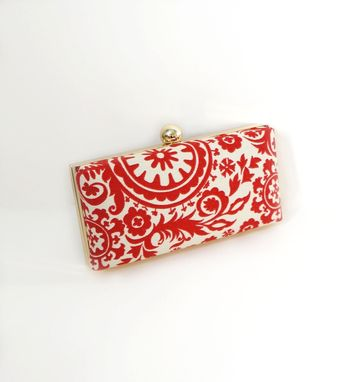 Custom Made Red Cotton Damask Clutch Purse