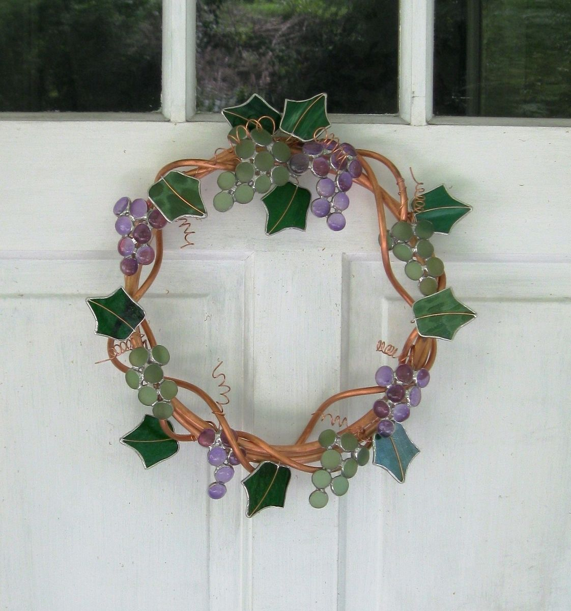 Handmade Wreath In Stained Glass And Copper Grape Vine By