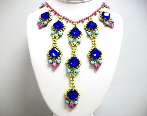 Custom Made N I N A Neon Rhinestone Necklace
