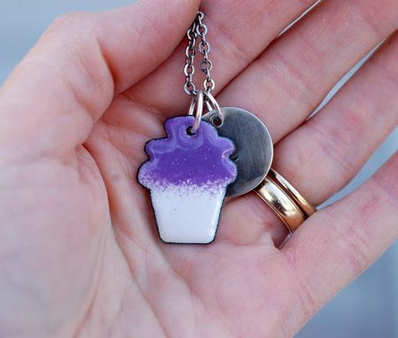 Custom Made Enamel Cupcake Necklace Pendant Custom Handstamped Initial Enameled Jewelry Purple