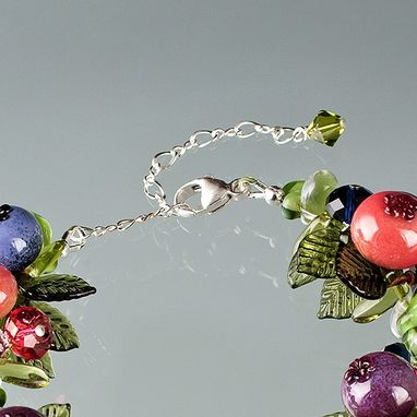 Custom Made Ripening Blueberry Bracelet With 15 Glass Blueberries And Swarovski Elements Crystals