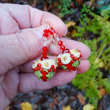 Custom Made Lampwork Glass Red Christmas Earrings In Sterling Silver