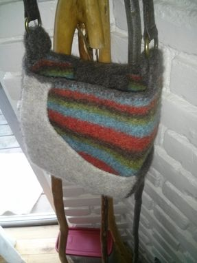 Custom Made Tiny Messanger Hand Made Knitted Hand Felted 100% Natural Fiber Bag