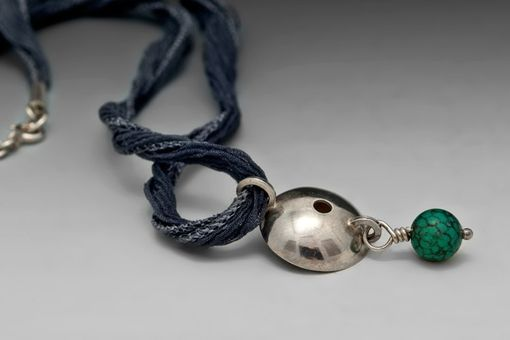 Custom Made Morning Glory Vine Pendant, Charcoal Grey Silk And Turquoise
