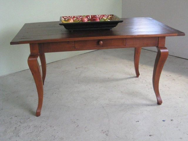 Custom Made Rustic Pine Table With Cabriole Leg