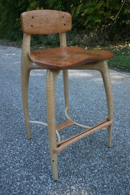 Custom Modern Wood Bar Stool Counter Stool Hand Carved
