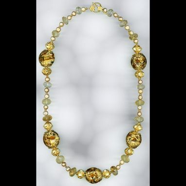 Custom Made Trianon Citrine Pearl & Glass Necklace