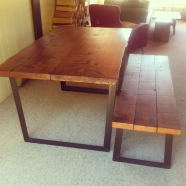 Custom Made Reclaimed Wood Dining Table With Live Edge Top