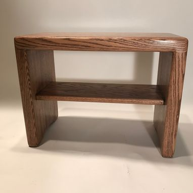 Custom Made Modern Butcher Block Table Or Bench With Shelf