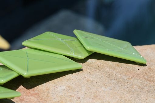 Custom Made Lime Green Glass Coasters With Stringer Accents In Set Of 6