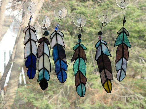Custom Made Eagle Feather Stained Glass Art