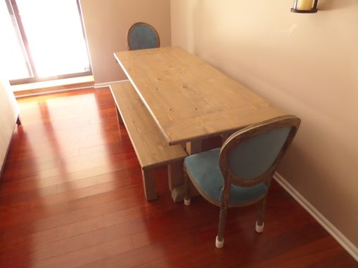 Custom Made Farmhouse Dining Table And Benches