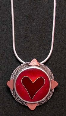 Custom Made Heart Pendant-Red And Pink Enamel