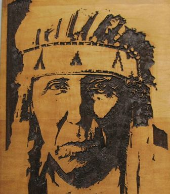 Custom Made Handmade Wood Carving A Proud Cheyenne Indian Warrior - Native American Indian Art / Wall Hanging