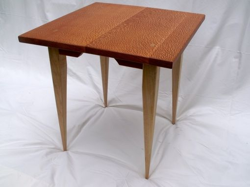 Custom Made End Table Of Lacewood And Flame Maple