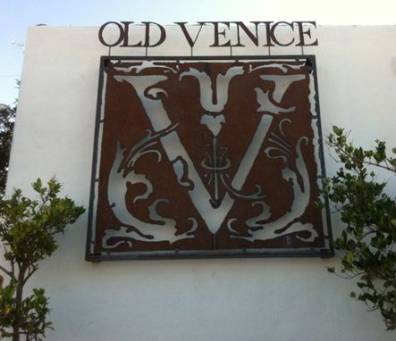 Custom Made Old Venice  Rusted Steel Sign