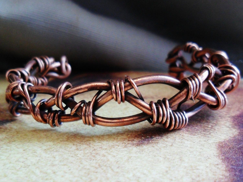 Buy a Custom Made Braided Copper Wirework Cuff Bracelet, made to ...