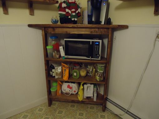 Custom Rustic Kitchen Corner Shelf And Microwave Stand By