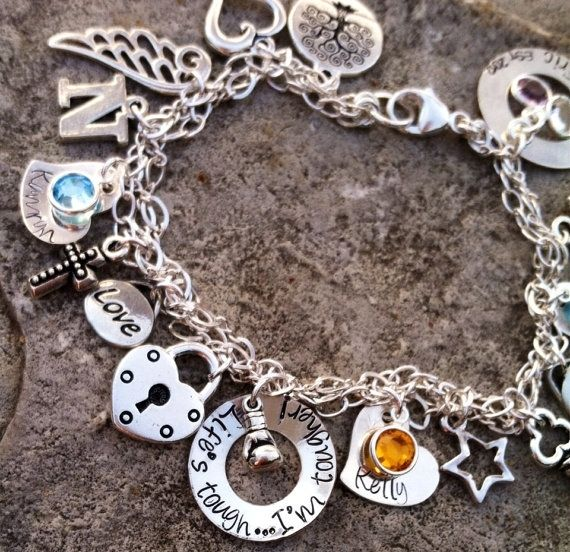 Personalized Charm Bracelet: Hand Crafted Personalized Hand Stamped Sterling Charm