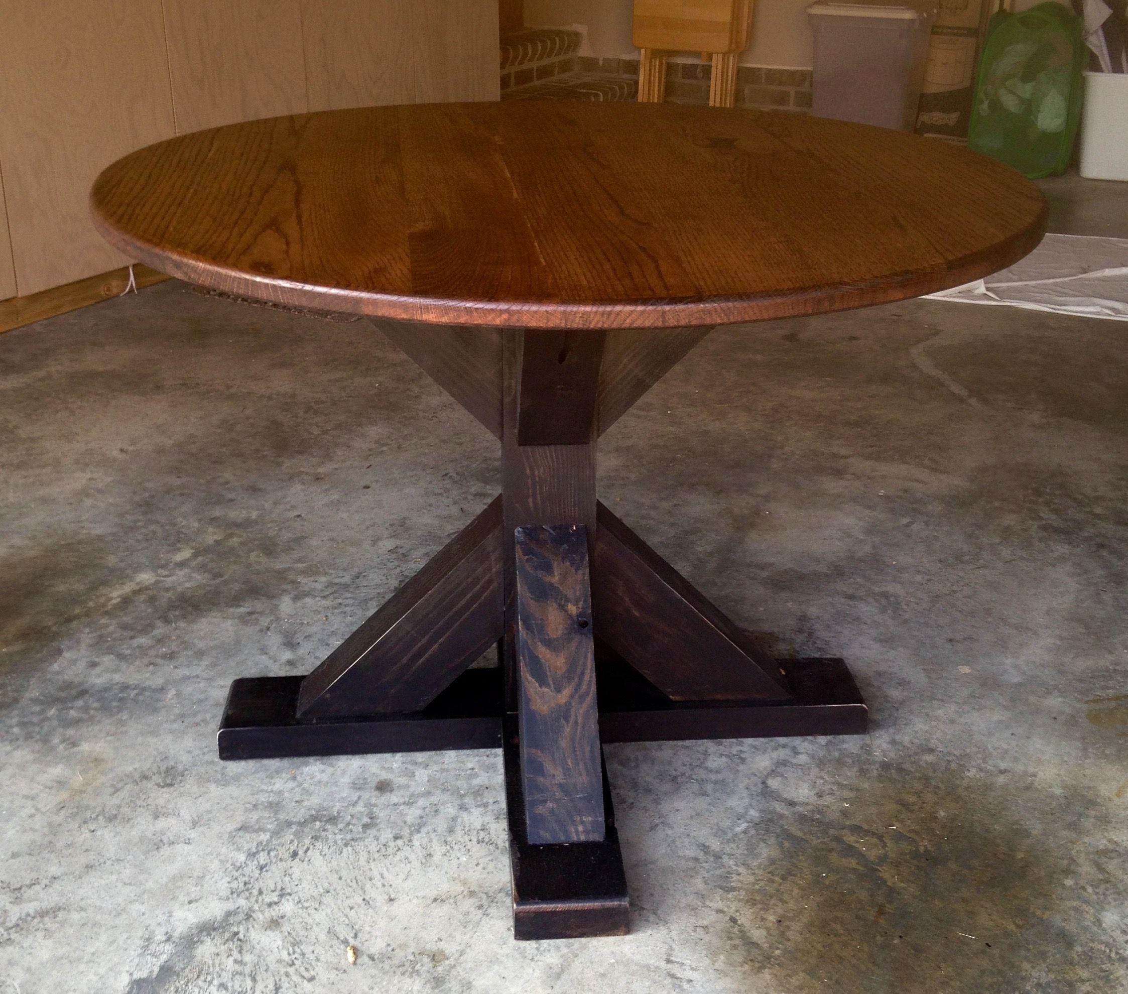 Buy A Custom Made Reclaimed Round Red Oak Trestle Table