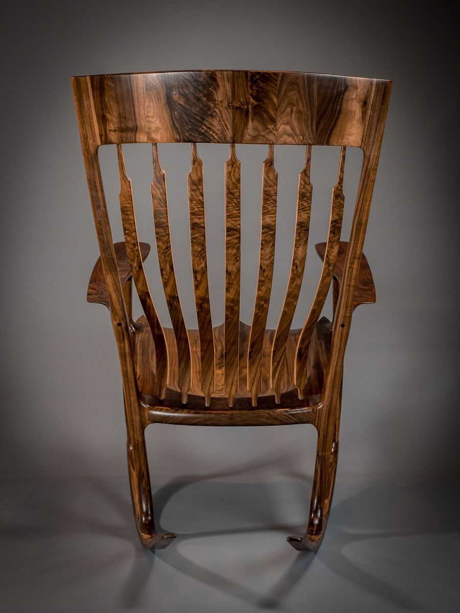 Handmade Walnut Amp Quilted Maple Handshake Rocking Chair By