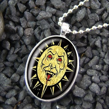 Custom Made Evil Sun Gothic Vampire Sterling Silver Necklace 120-Son