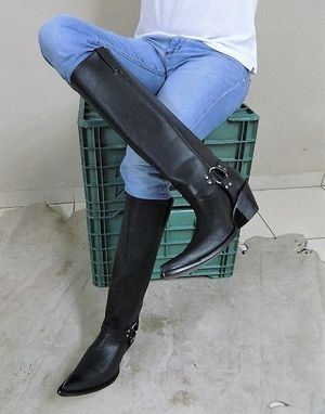 Custom Made 18.5 Inches Tall Shaft Harness Cowboy Boots Genuine Leather Sharp Toe